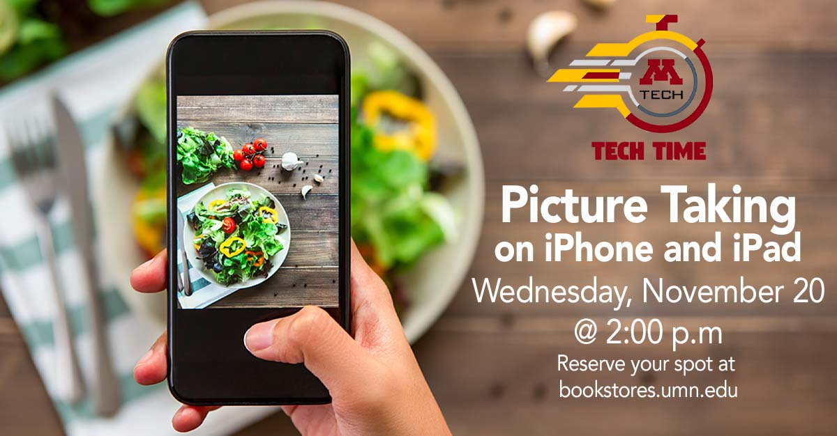 Tech Time: Picture Taking on iPhone and iPad on Wednesday, November 20 at 2:00 PM