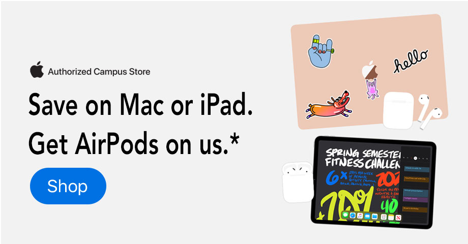 Save on Mac or iPad, Get AirPods on us.