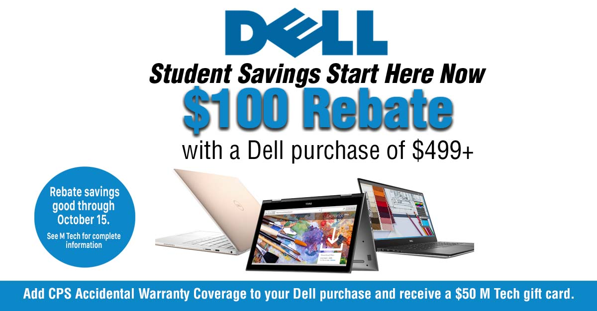 save with a $100 rebate on Dell