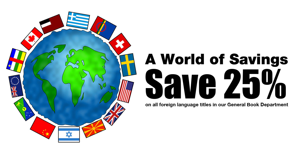 Save 25% on all foreign language titles in our general book department