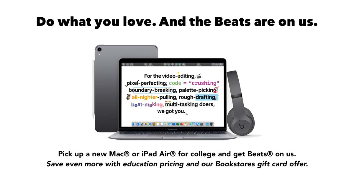 Pick up a new Mac or iPad Air and get Beats on us