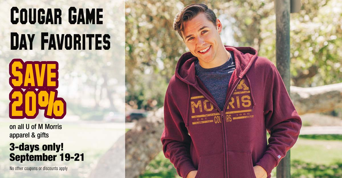 Save 20% on U of M Morris gifts and apparel-- 3 days only: September 19-21
