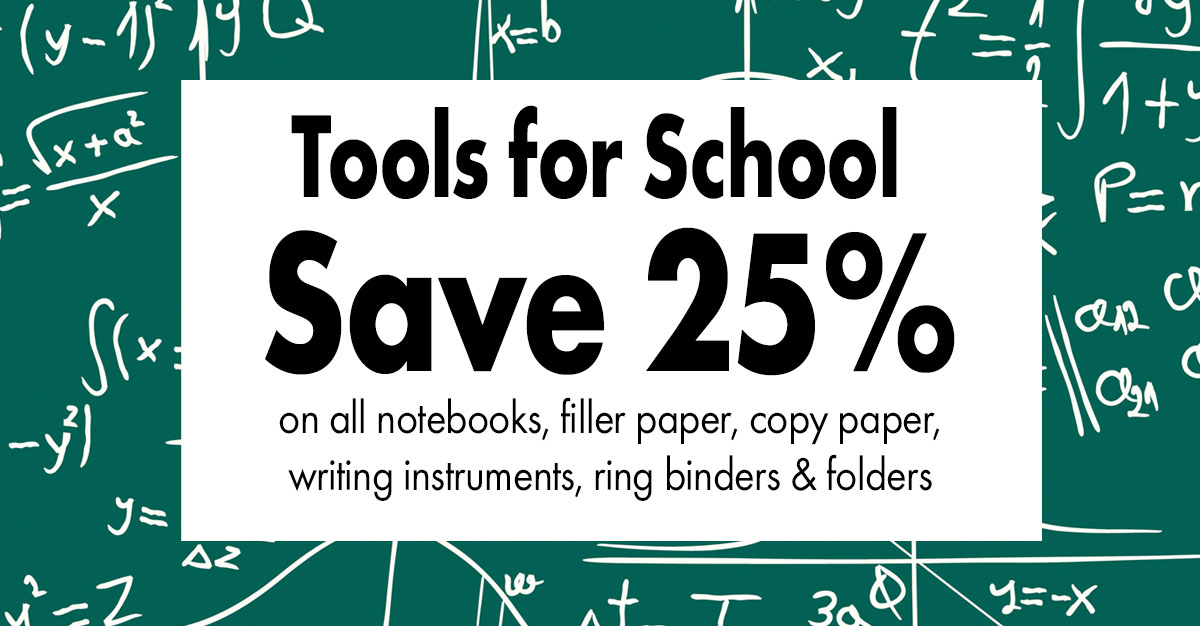 save 25% on school supplies at the U of MN Bookstores